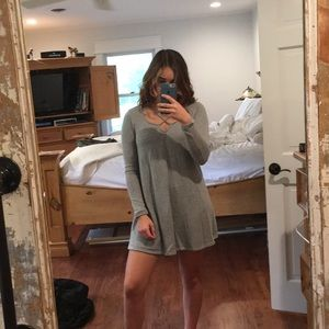 Long sleeve knit dress that crosses in front